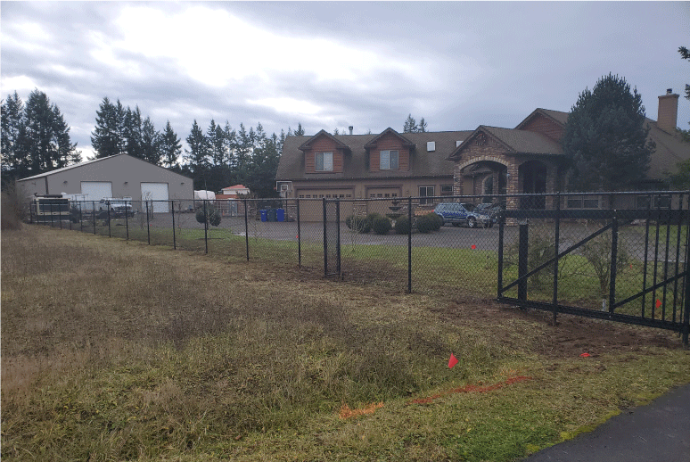 Black Chain Link Fence and Custom Gate